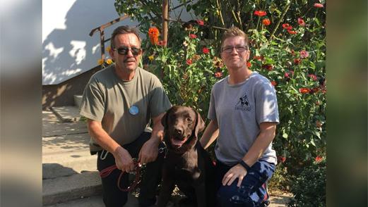 Bazsó György Ágoston és Ramsey vakvezető kutya