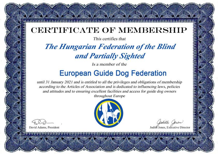 Membership certificate hungary